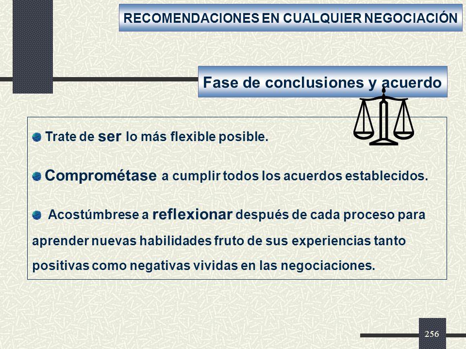 Fase de conclusiones y acuerdo