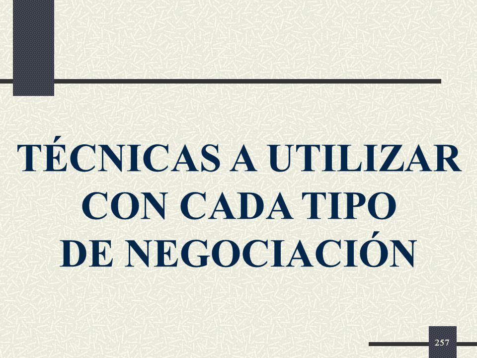 TÉCNICAS A UTILIZAR CON CADA TIPO DE NEGOCIACIÓN