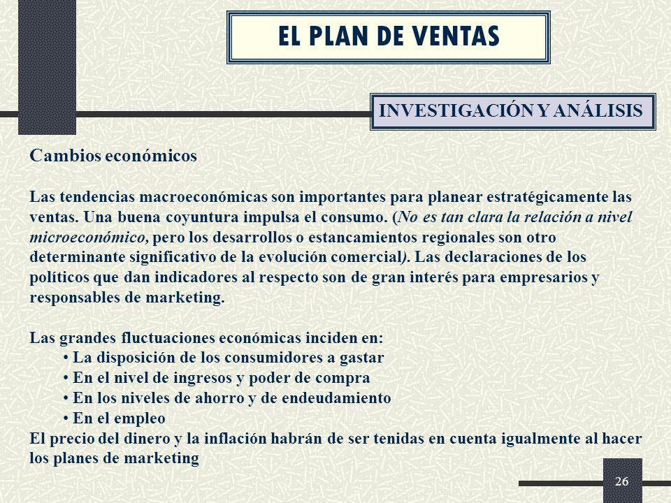 EL PLAN DE VENTAS INVESTIGACIÓN Y ANÁLISIS Cambios económicos