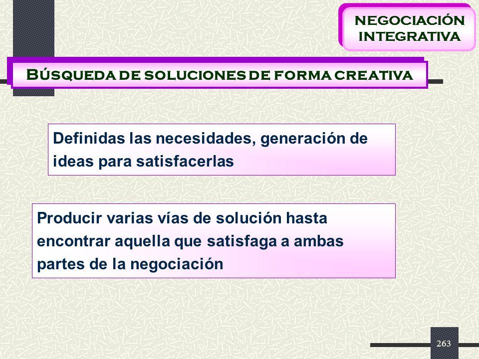 NEGOCIACIÓN INTEGRATIVA Búsqueda de soluciones de forma creativa