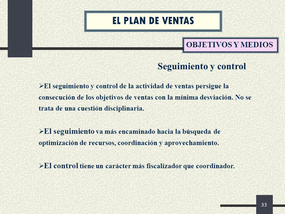 EL PLAN DE VENTAS Seguimiento y control OBJETIVOS Y MEDIOS