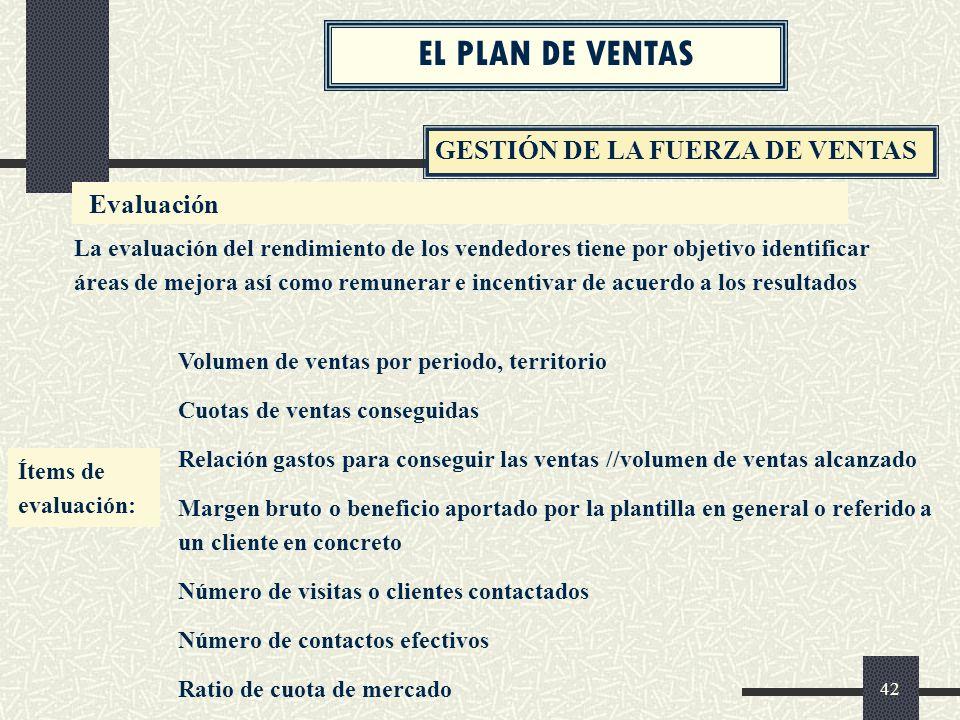 EL PLAN DE VENTAS GESTIÓN DE LA FUERZA DE VENTAS Evaluación