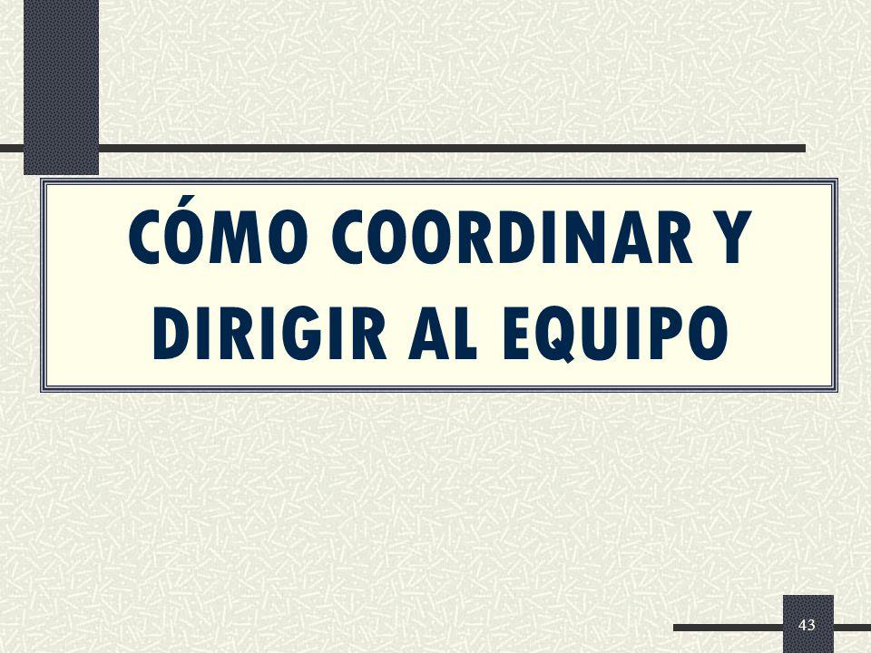 CÓMO COORDINAR Y DIRIGIR AL EQUIPO