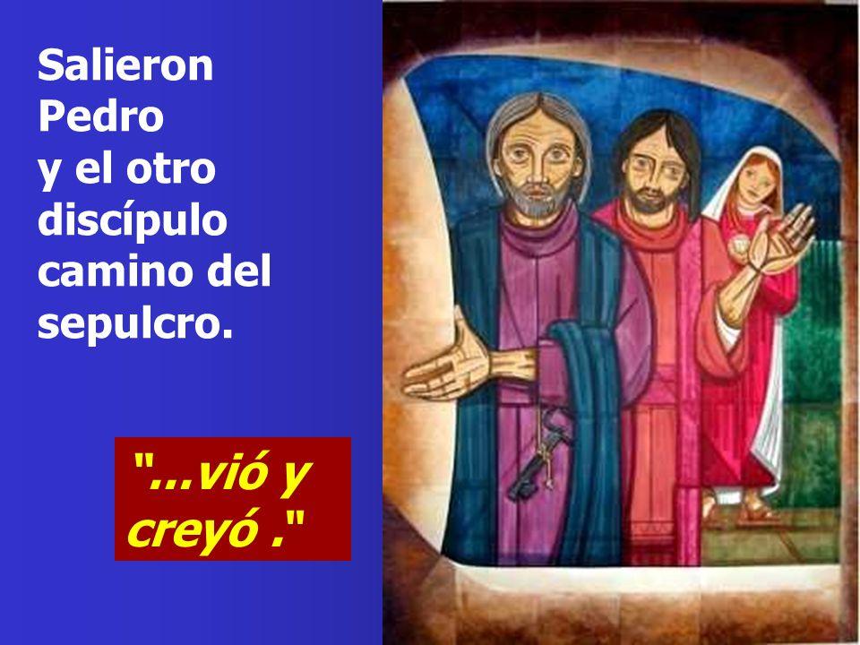 Salieron Pedro y el otro discípulo camino del sepulcro.