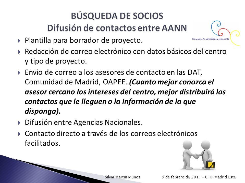 BÚSQUEDA DE SOCIOS Difusión de contactos entre AANN