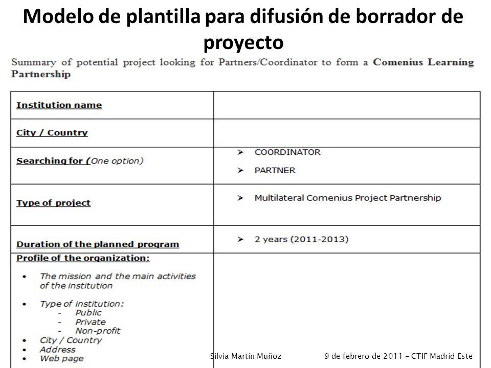 Modelo de plantilla para difusión de borrador de proyecto