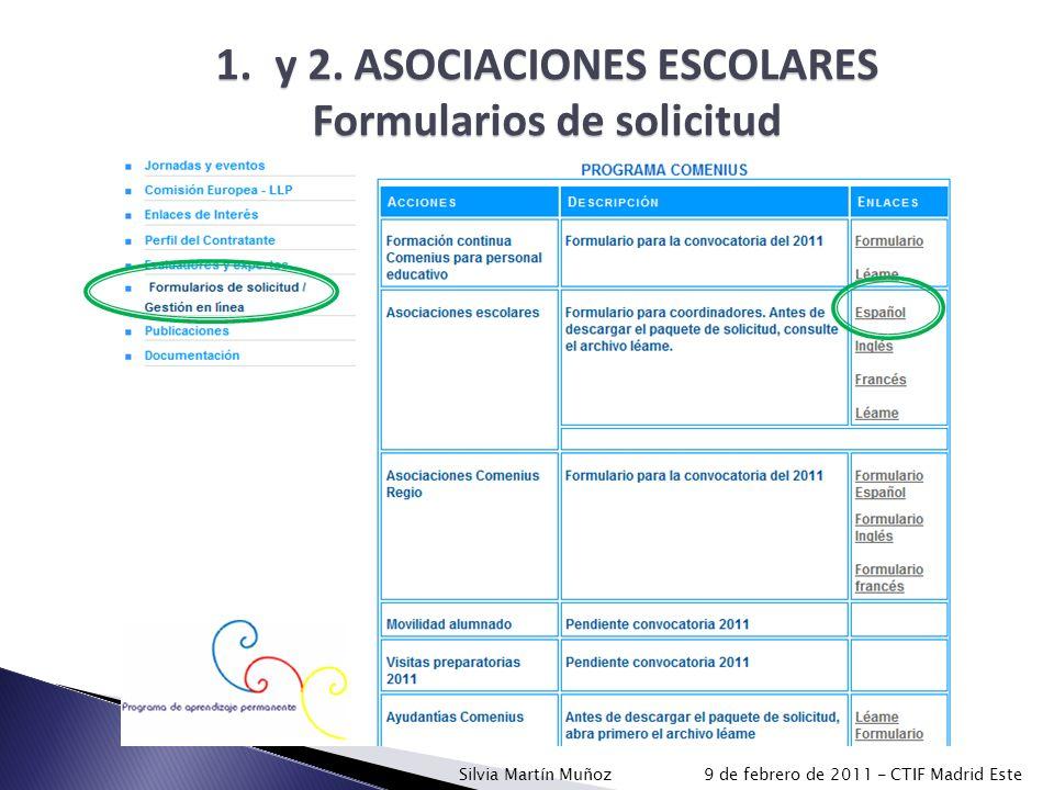 y 2. ASOCIACIONES ESCOLARES Formularios de solicitud