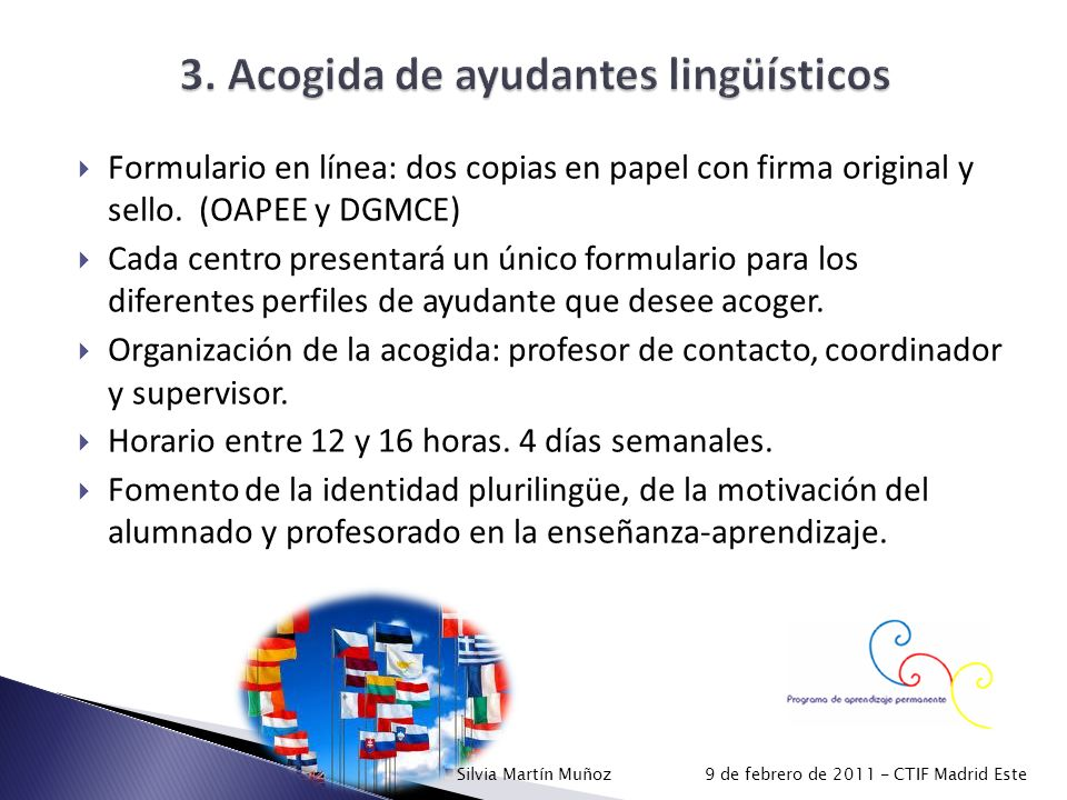 3. Acogida de ayudantes lingüísticos