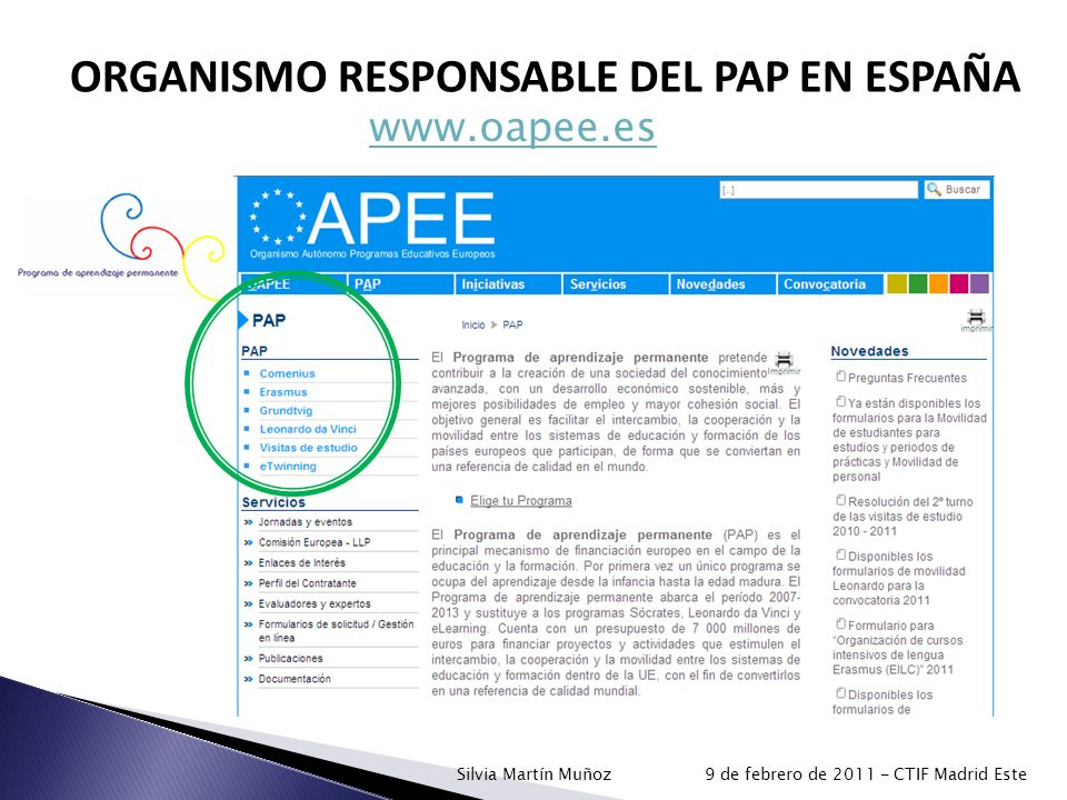ORGANISMO RESPONSABLE DEL PAP EN ESPAÑA