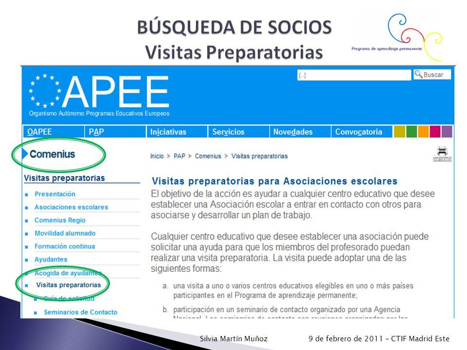 BÚSQUEDA DE SOCIOS Visitas Preparatorias