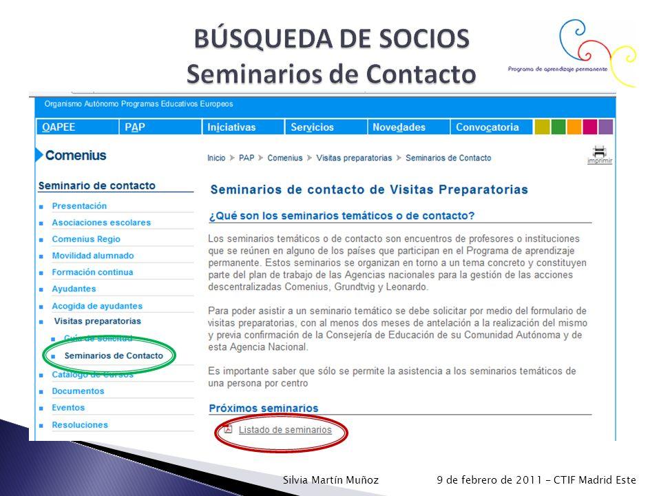 BÚSQUEDA DE SOCIOS Seminarios de Contacto