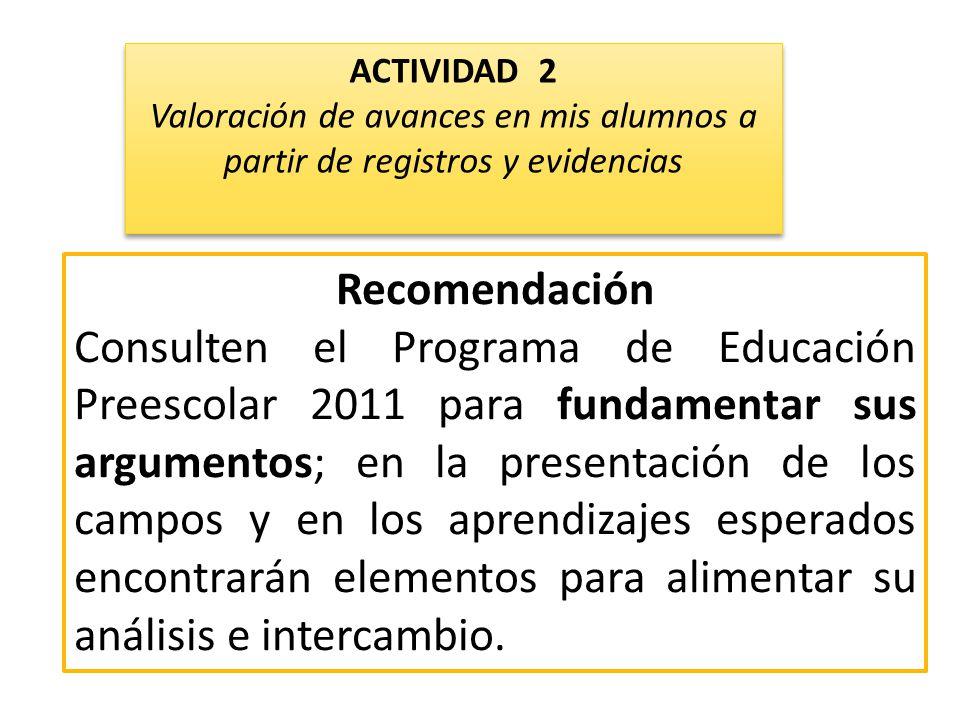 ACTIVIDAD 2 Valoración de avances en mis alumnos a partir de registros y evidencias. Recomendación.