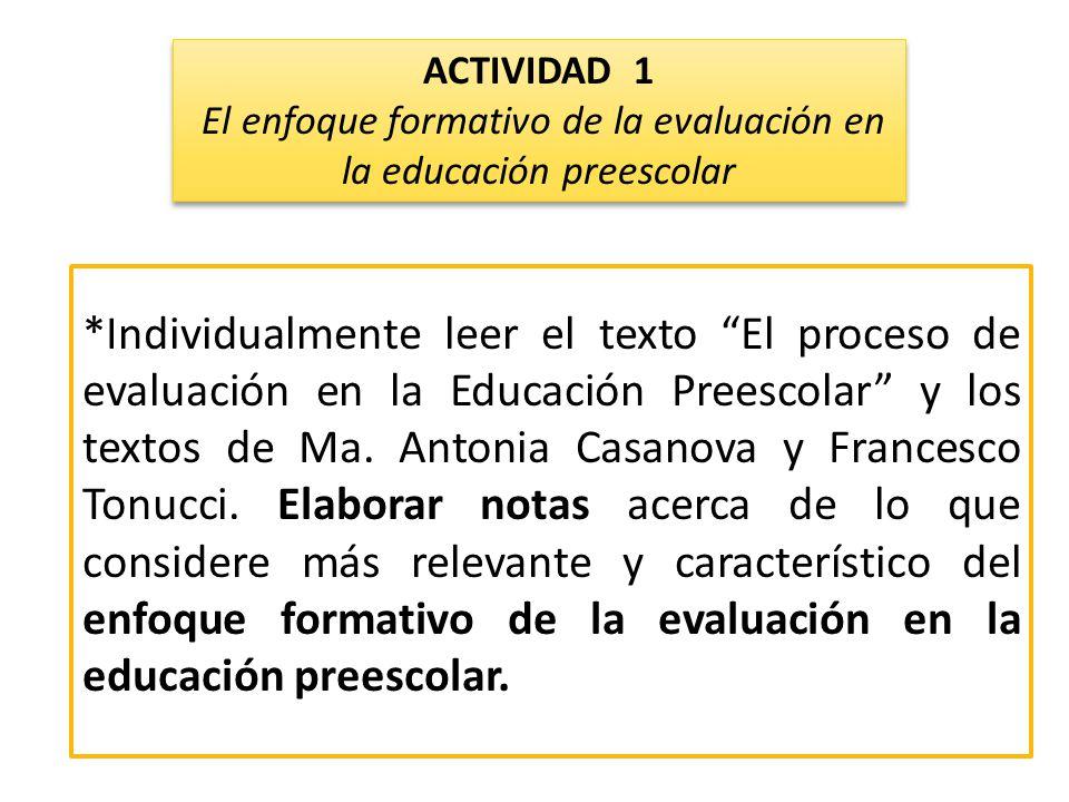 El enfoque formativo de la evaluación en la educación preescolar