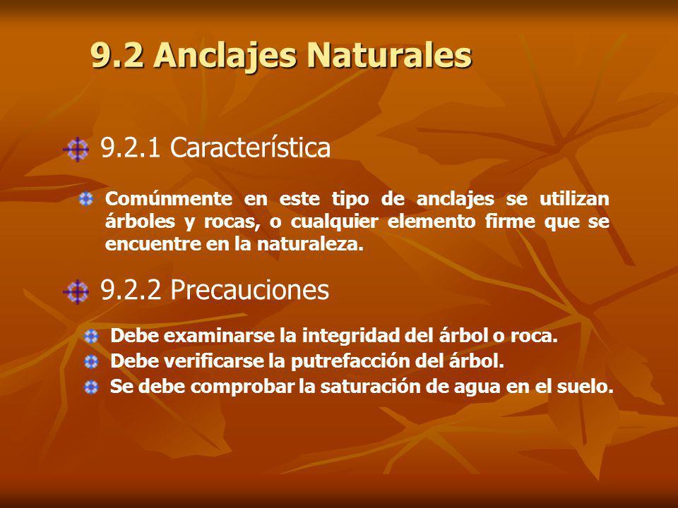 9.2 Anclajes Naturales 9.2.1 Característica 9.2.2 Precauciones