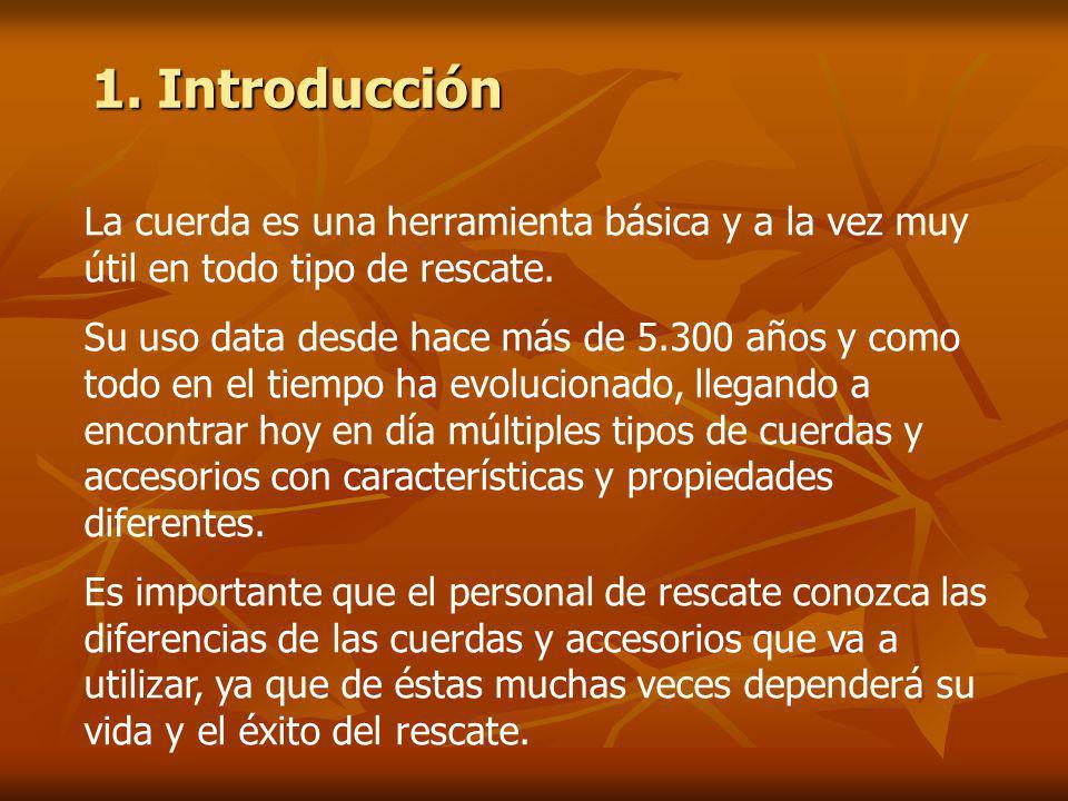 1. Introducción La cuerda es una herramienta básica y a la vez muy útil en todo tipo de rescate.