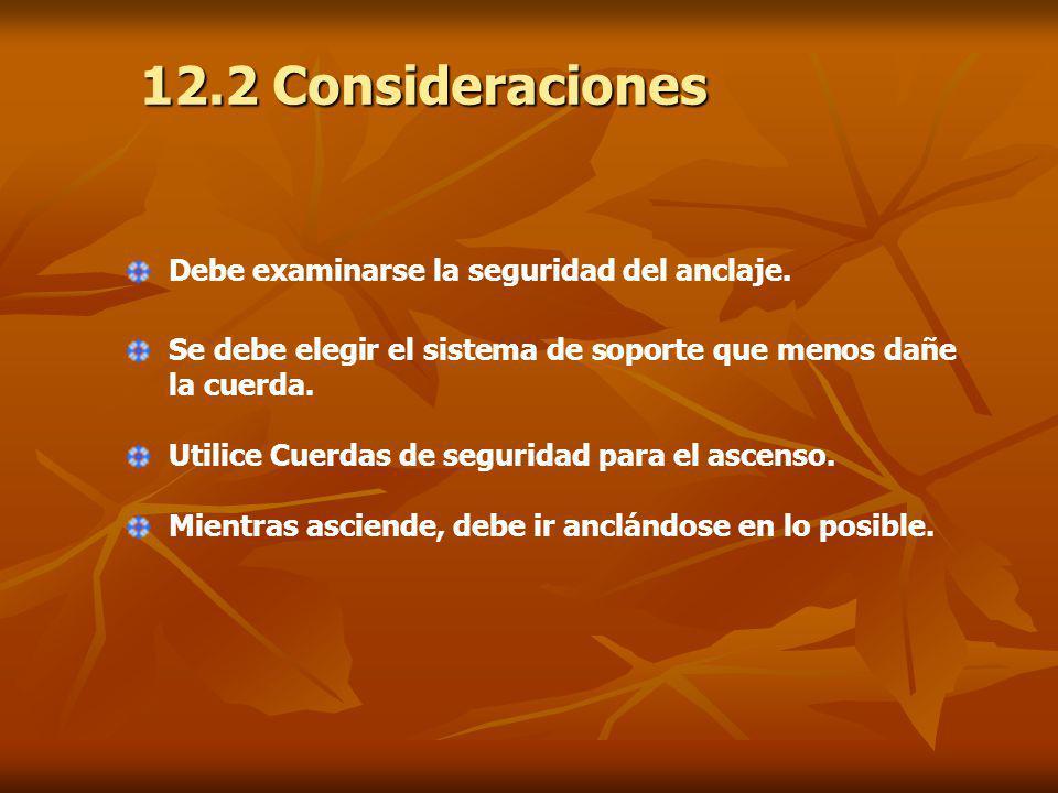 12.2 Consideraciones Debe examinarse la seguridad del anclaje.
