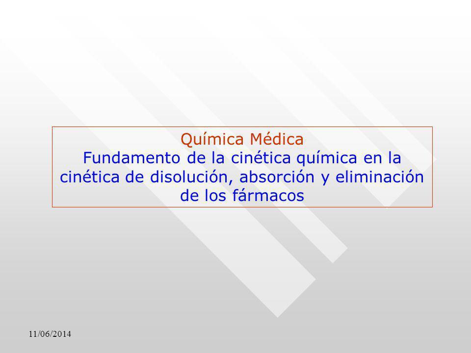 Química Médica Fundamento de la cinética química en la cinética de disolución, absorción y eliminación de los fármacos.