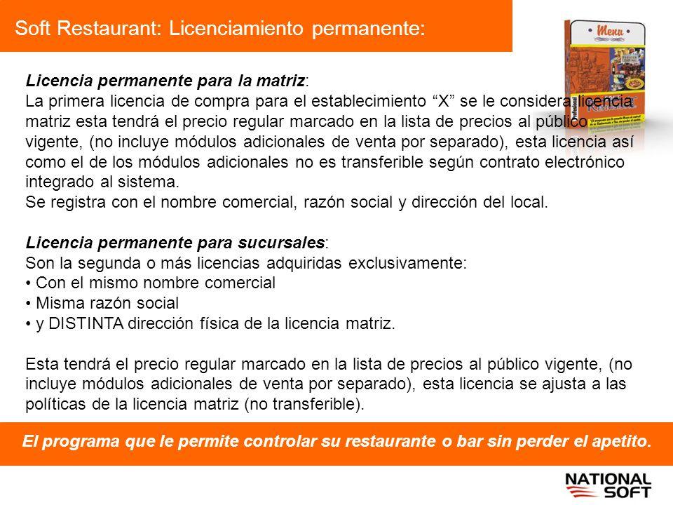 Soft Restaurant: Licenciamiento permanente: