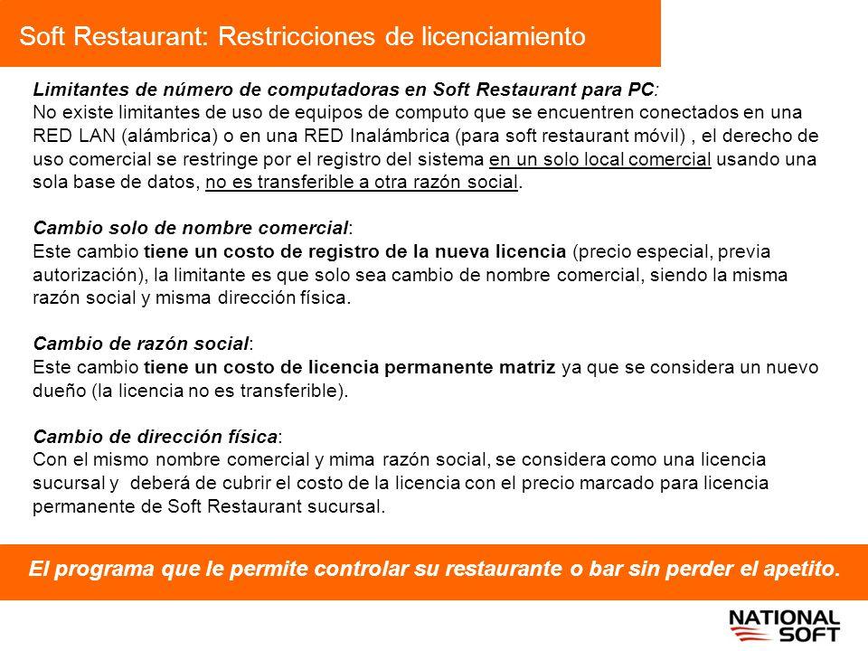 Soft Restaurant: Restricciones de licenciamiento