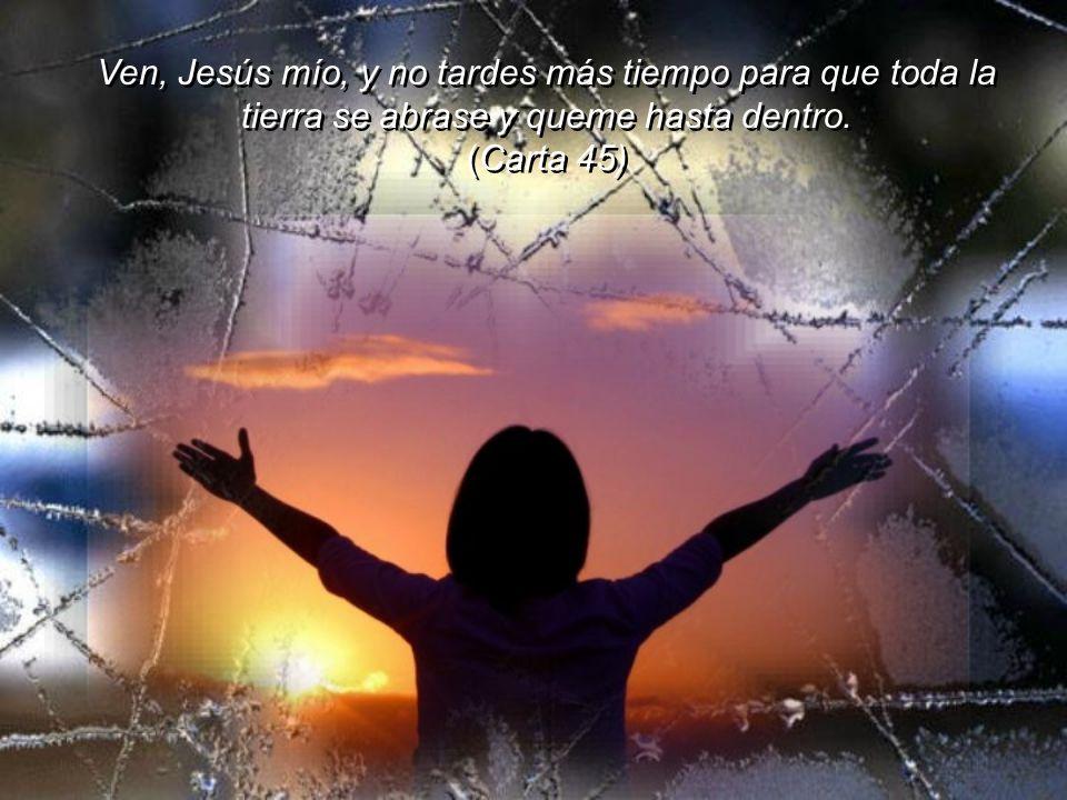 Ven, Jesús mío, y no tardes más tiempo para que toda la tierra se abrase y queme hasta dentro.
