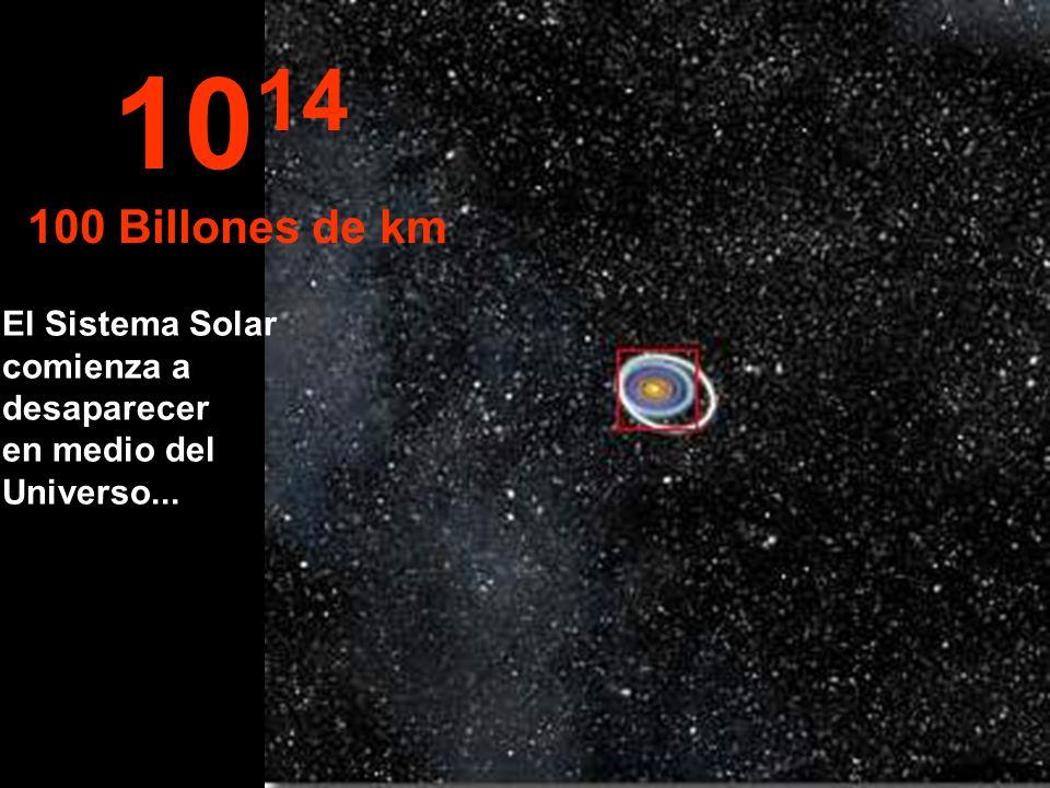 1014 100 Billones de km El Sistema Solar comienza a desaparecer en medio del Universo...