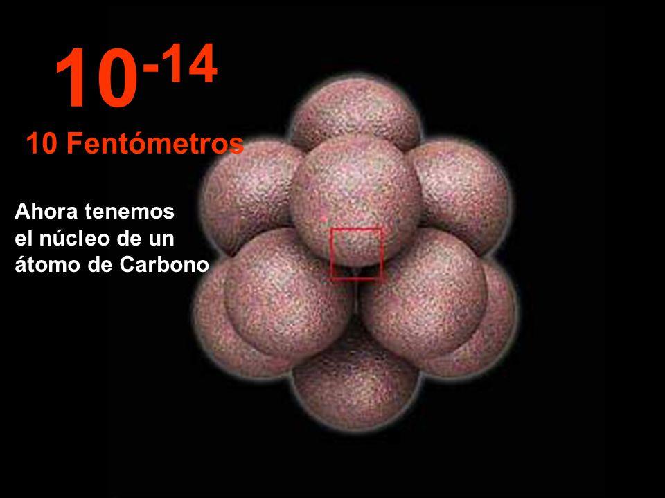 10-14 10 Fentómetros Ahora tenemos el núcleo de un átomo de Carbono