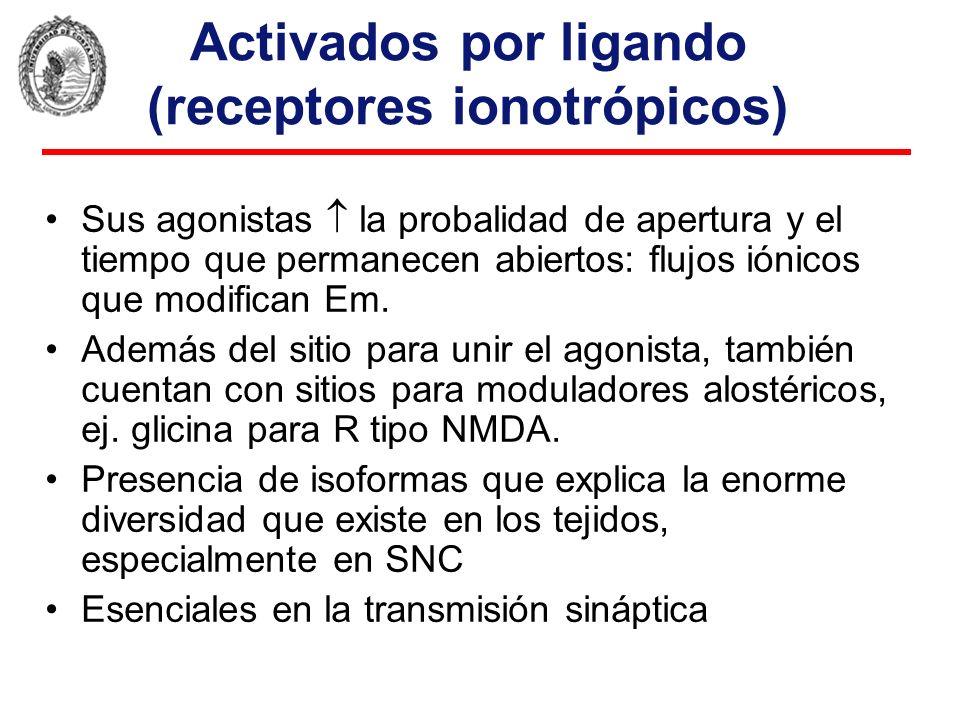 Activados por ligando (receptores ionotrópicos)