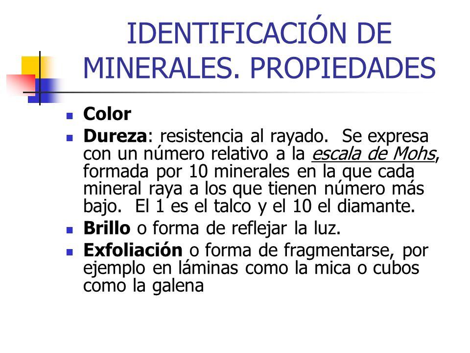 IDENTIFICACIÓN DE MINERALES. PROPIEDADES