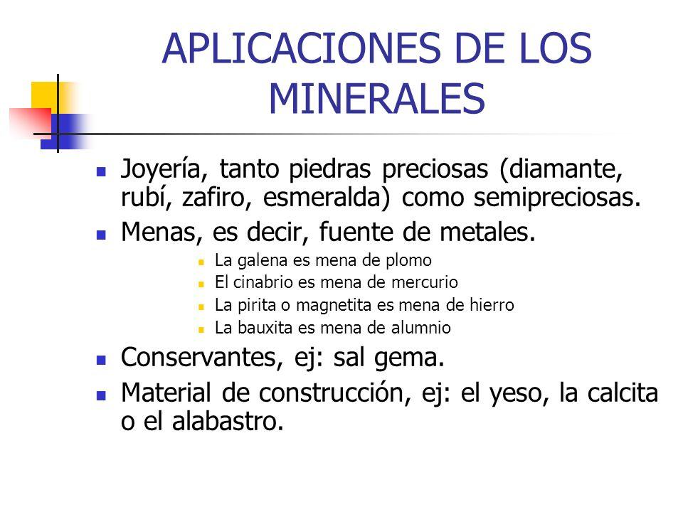 APLICACIONES DE LOS MINERALES