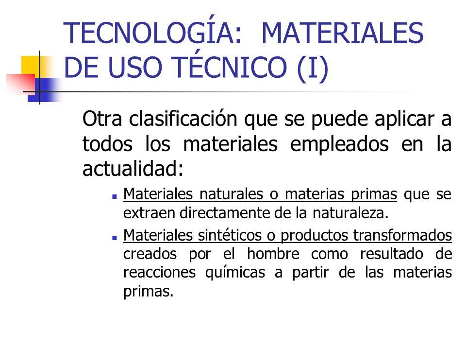 TECNOLOGÍA: MATERIALES DE USO TÉCNICO (I)