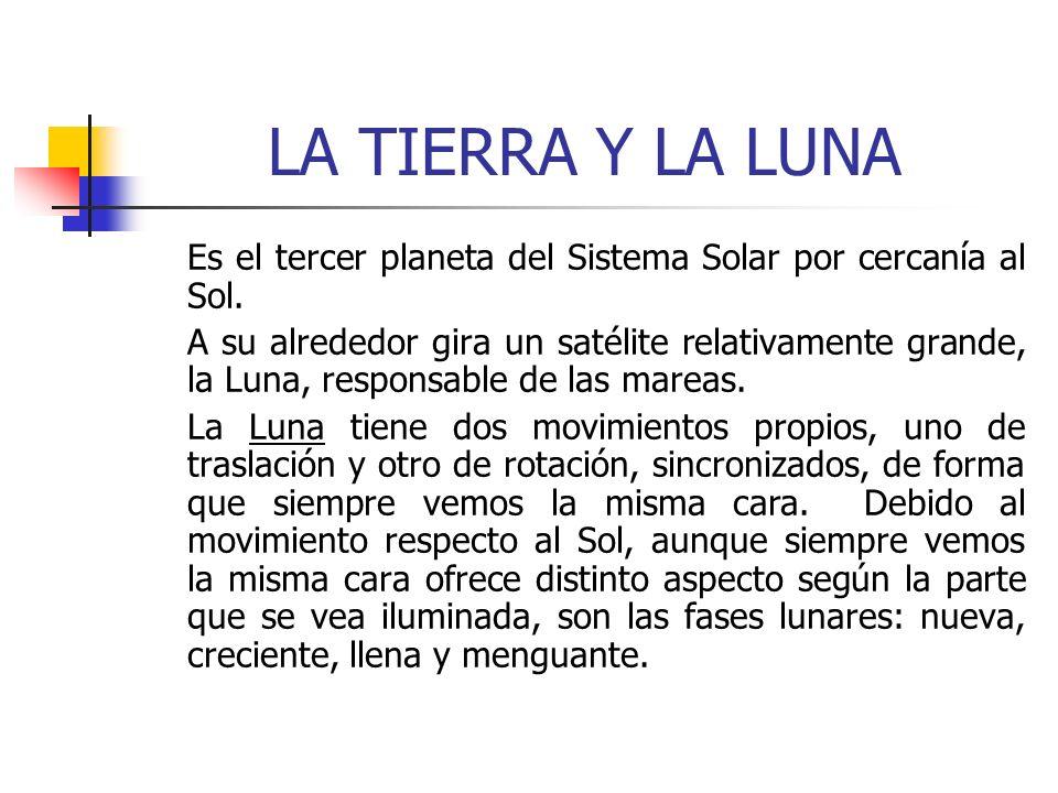 LA TIERRA Y LA LUNA Es el tercer planeta del Sistema Solar por cercanía al Sol.