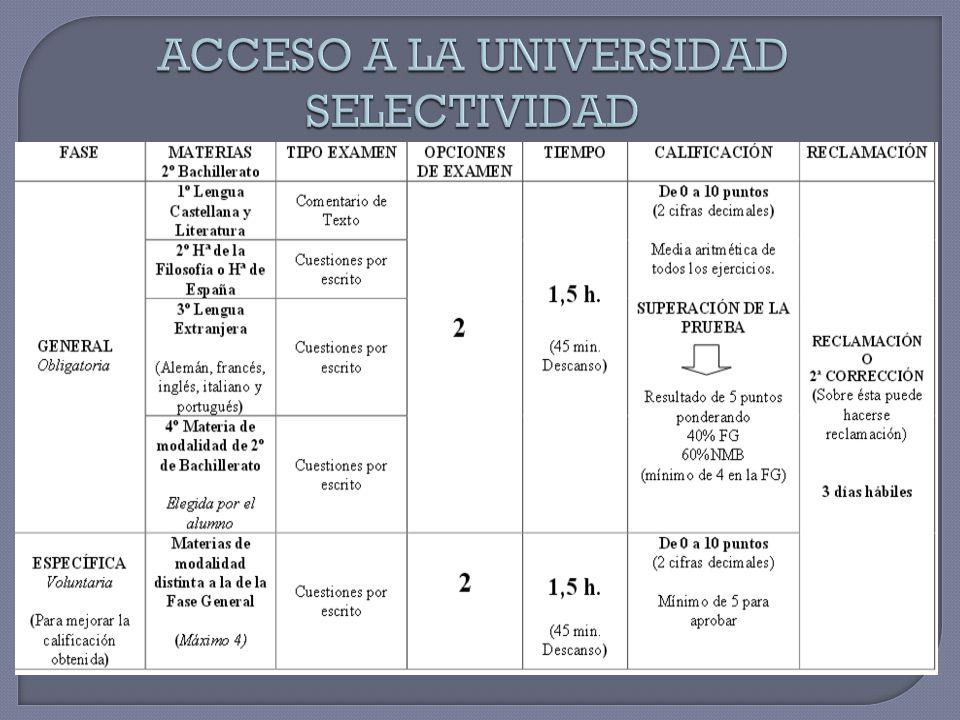 ACCESO A LA UNIVERSIDAD SELECTIVIDAD