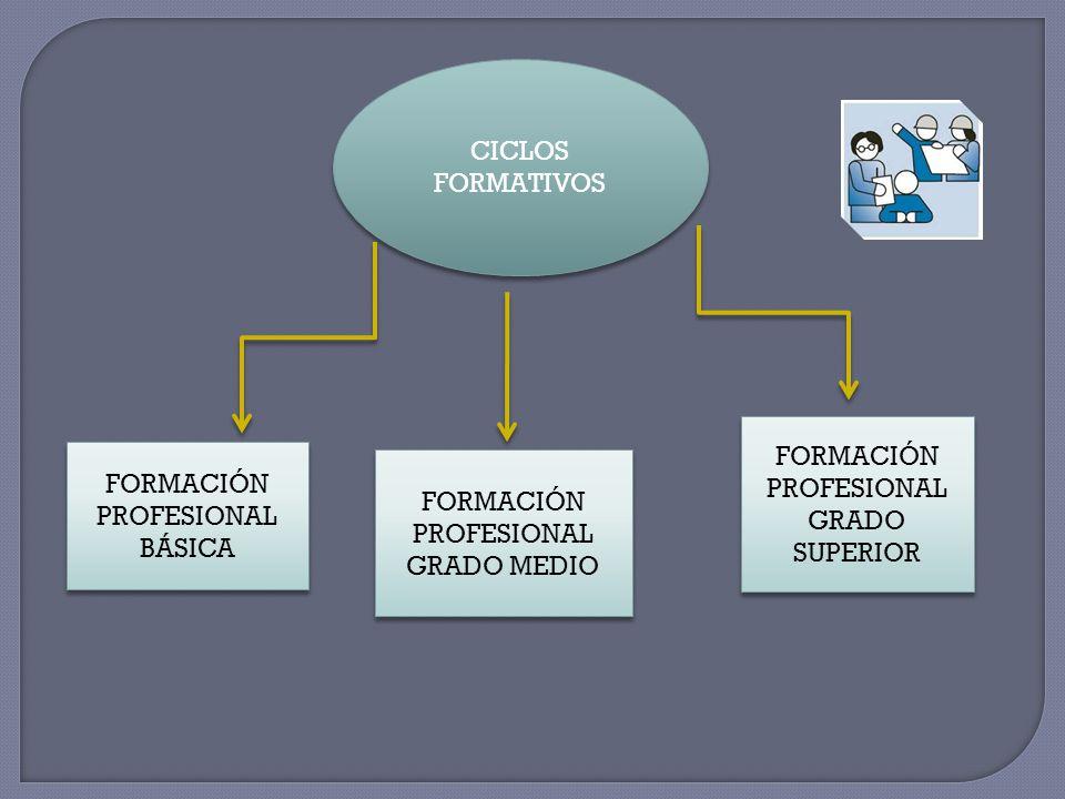 FORMACIÓN PROFESIONAL GRADO SUPERIOR FORMACIÓN PROFESIONAL BÁSICA