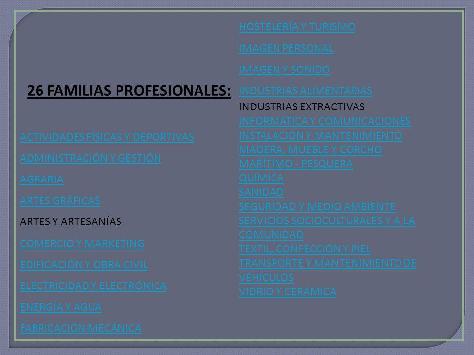 26 FAMILIAS PROFESIONALES: