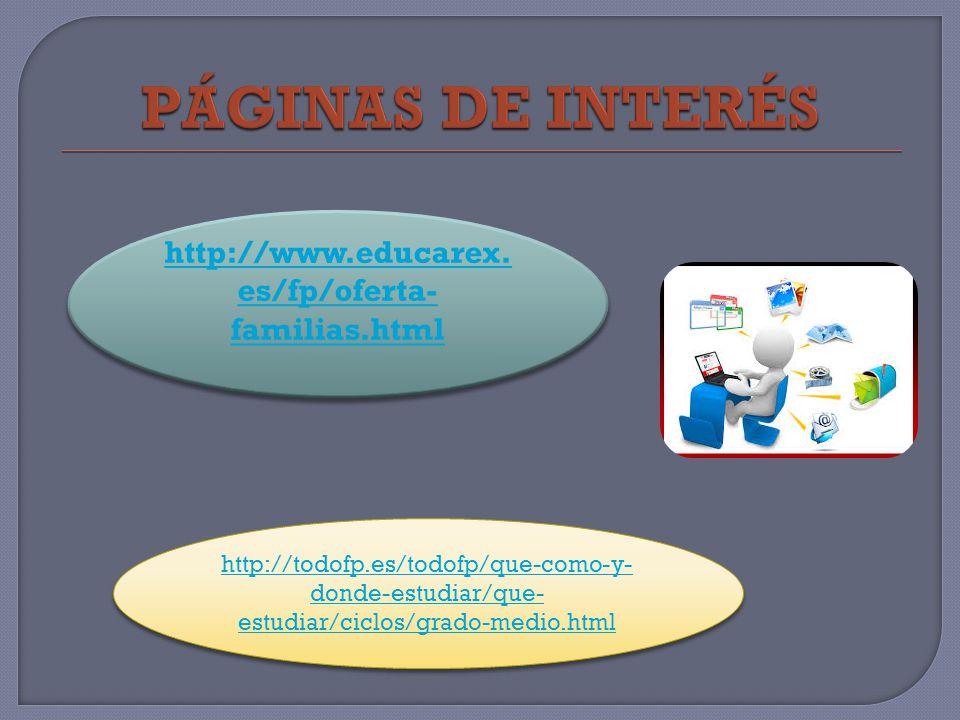 PÁGINAS DE INTERÉS http://www.educarex.es/fp/oferta-familias.html