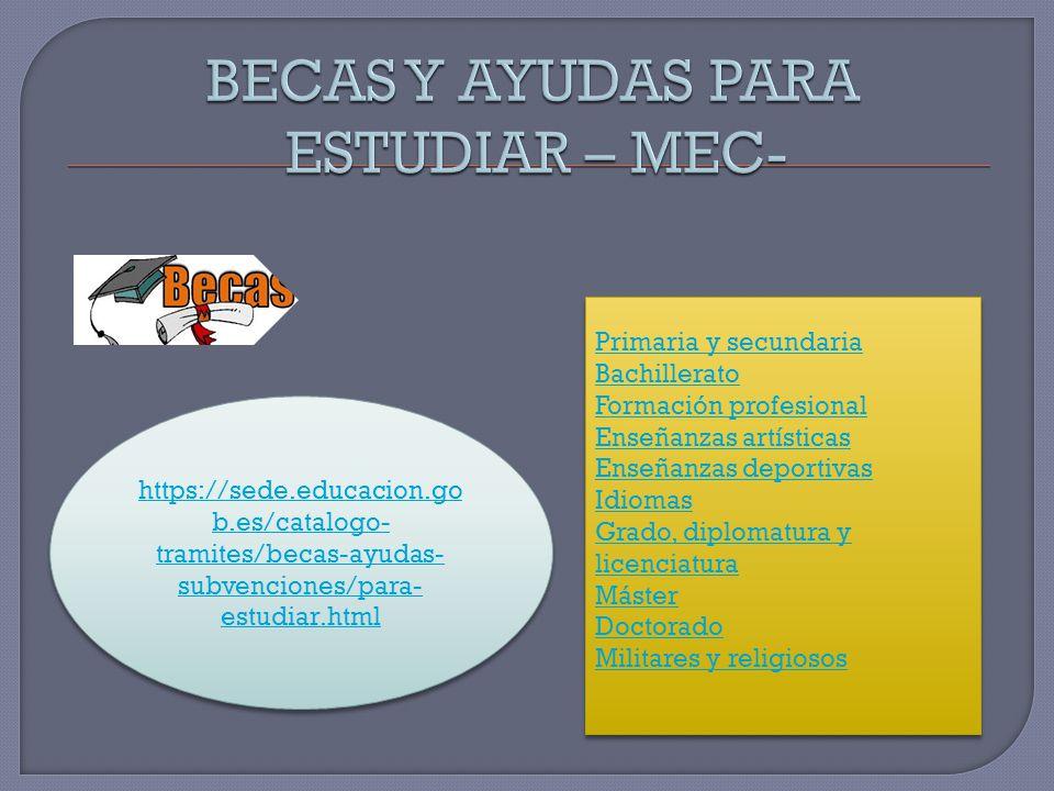 BECAS Y AYUDAS PARA ESTUDIAR – MEC-