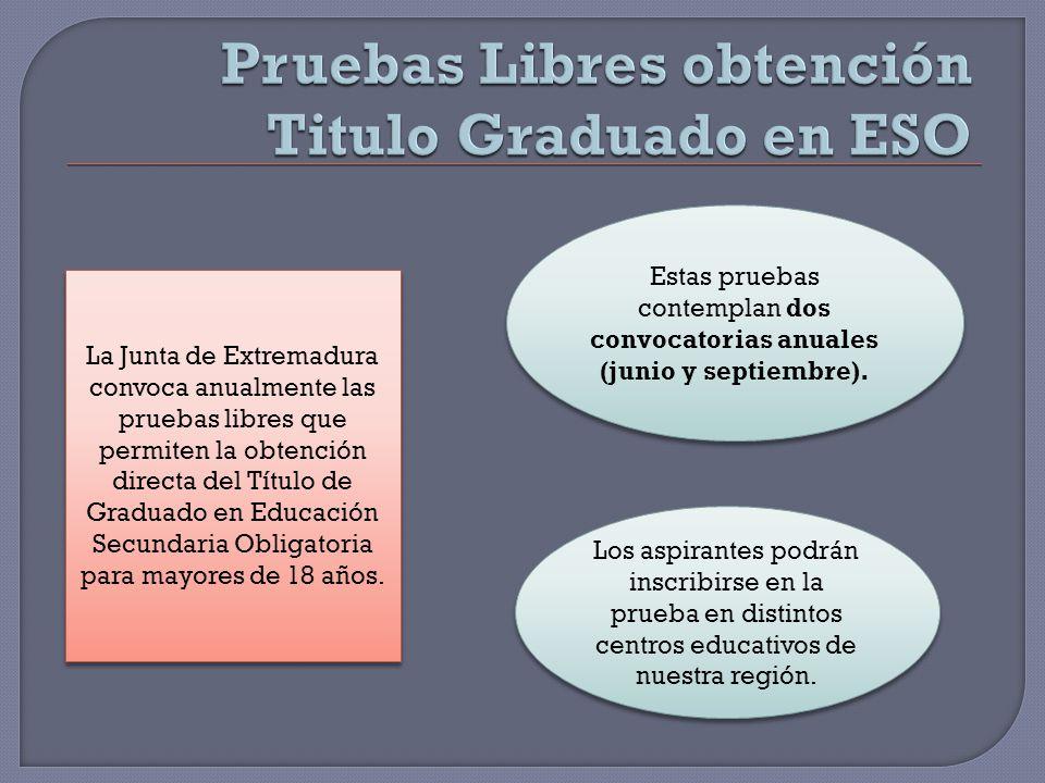 Pruebas Libres obtención Titulo Graduado en ESO