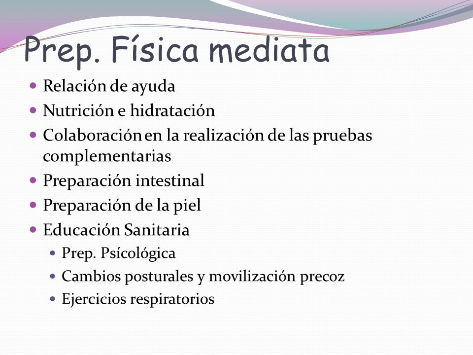 Prep. Física mediata Relación de ayuda Nutrición e hidratación
