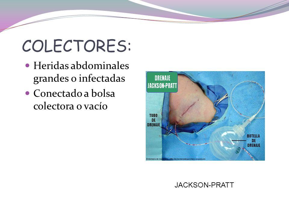 COLECTORES: Heridas abdominales grandes o infectadas
