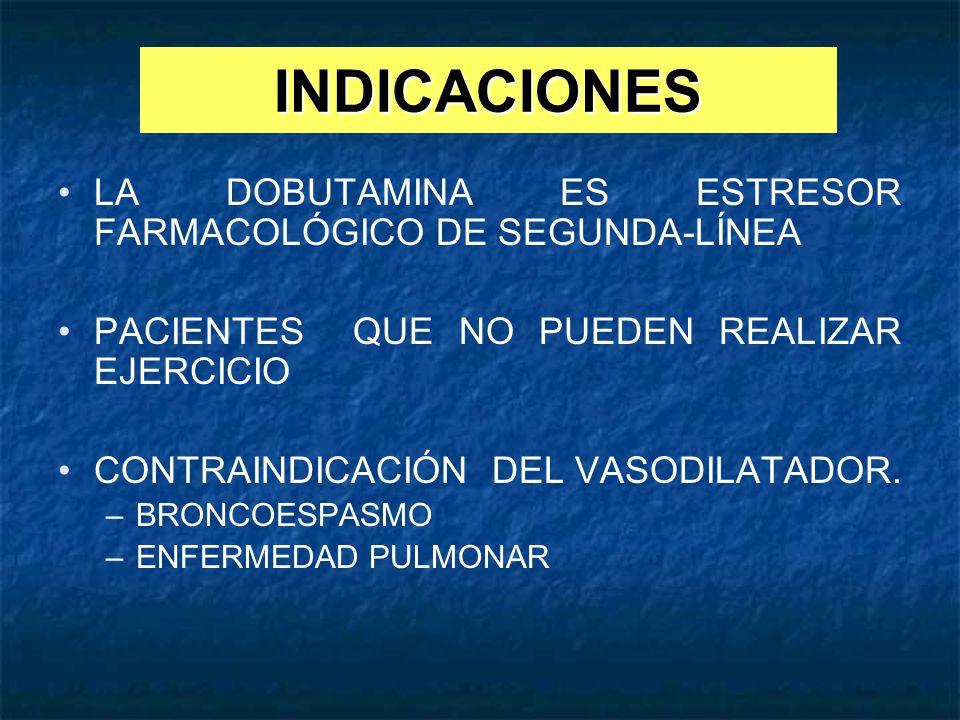 INDICACIONES LA DOBUTAMINA ES ESTRESOR FARMACOLÓGICO DE SEGUNDA-LÍNEA