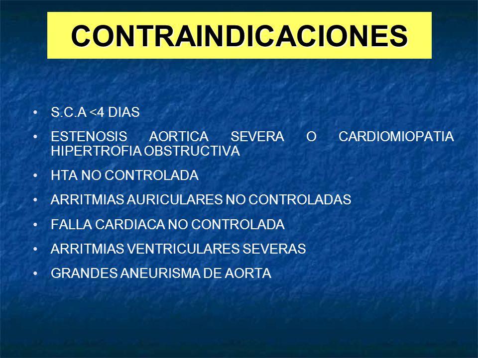 CONTRAINDICACIONES S.C.A <4 DIAS