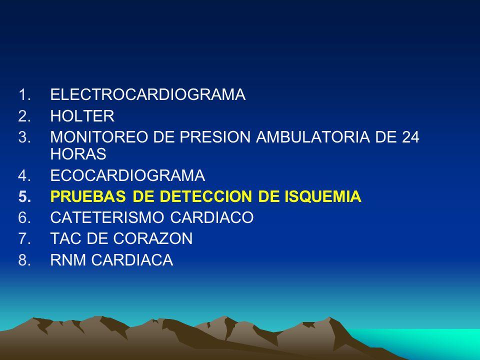ELECTROCARDIOGRAMA HOLTER. MONITOREO DE PRESION AMBULATORIA DE 24 HORAS. ECOCARDIOGRAMA. PRUEBAS DE DETECCION DE ISQUEMIA.