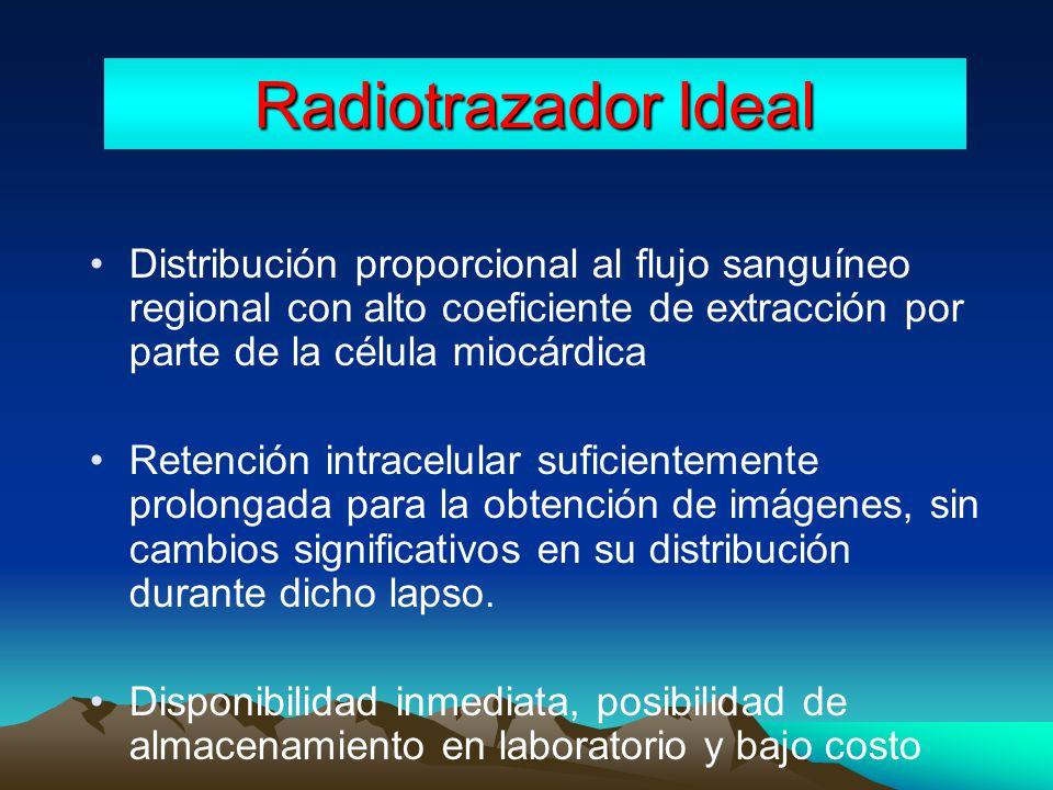 Radiotrazador Ideal Distribución proporcional al flujo sanguíneo regional con alto coeficiente de extracción por parte de la célula miocárdica.