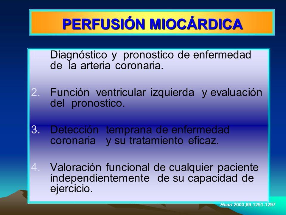 PERFUSIÓN MIOCÁRDICA Diagnóstico y pronostico de enfermedad de la arteria coronaria. Función ventricular izquierda y evaluación del pronostico.