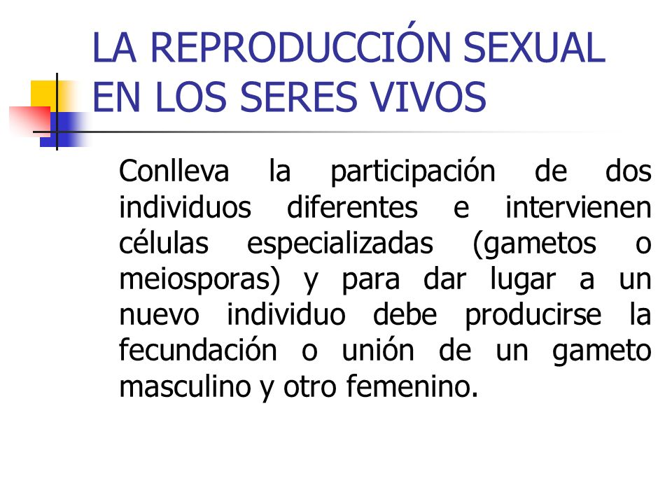 LA REPRODUCCIÓN SEXUAL EN LOS SERES VIVOS