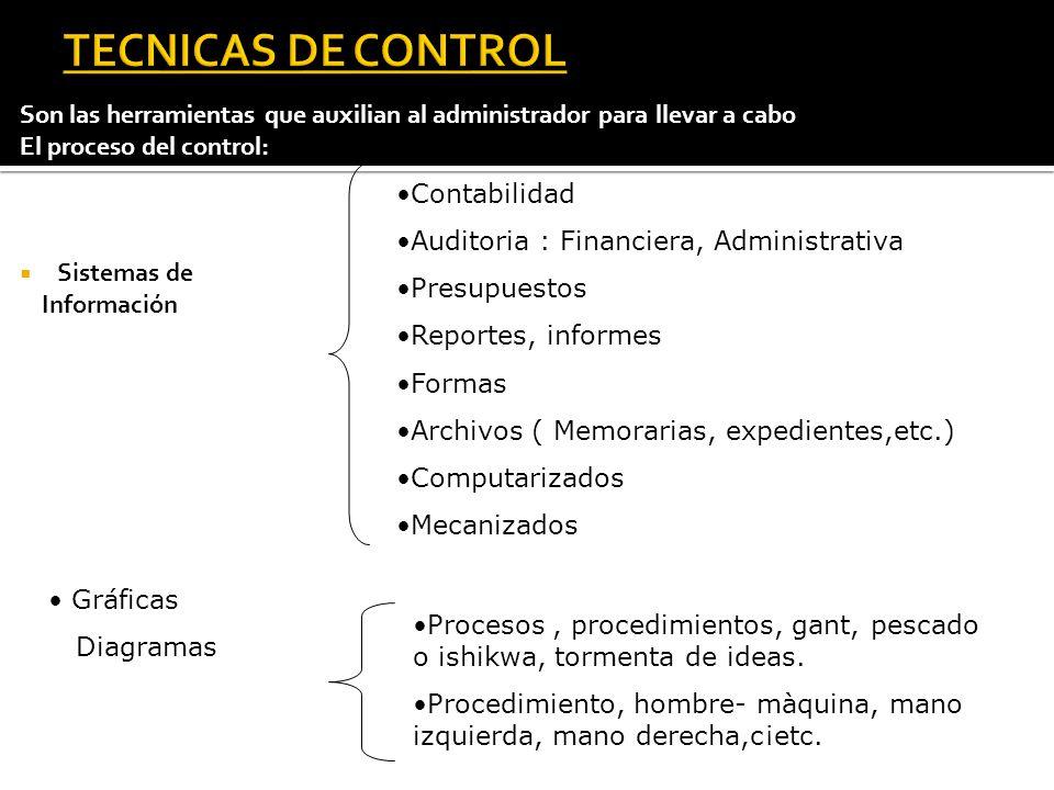 TECNICAS DE CONTROL Son las herramientas que auxilian al administrador para llevar a cabo. El proceso del control: