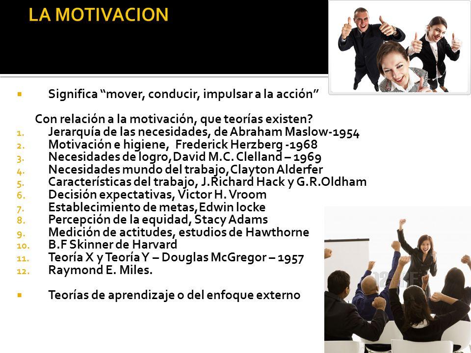 LA MOTIVACION Significa mover, conducir, impulsar a la acción