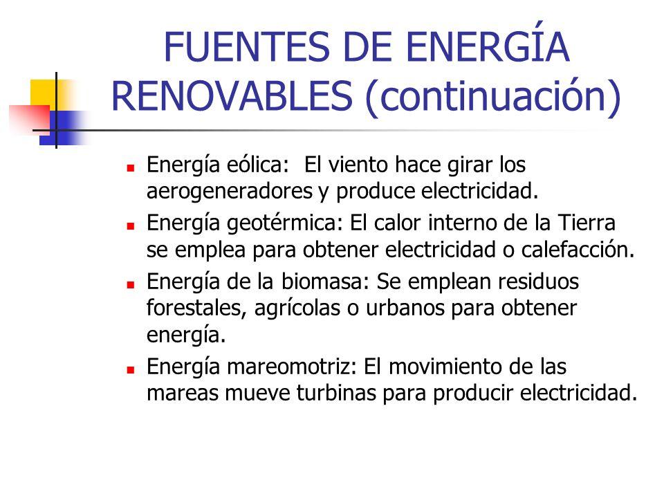 FUENTES DE ENERGÍA RENOVABLES (continuación)