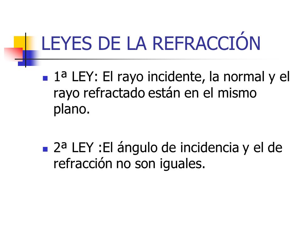 LEYES DE LA REFRACCIÓN 1ª LEY: El rayo incidente, la normal y el rayo refractado están en el mismo plano.