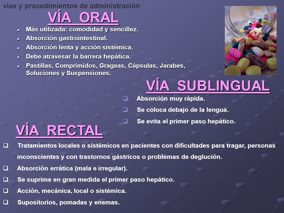 VÍA ORAL VÍA SUBLINGUAL VÍA RECTAL